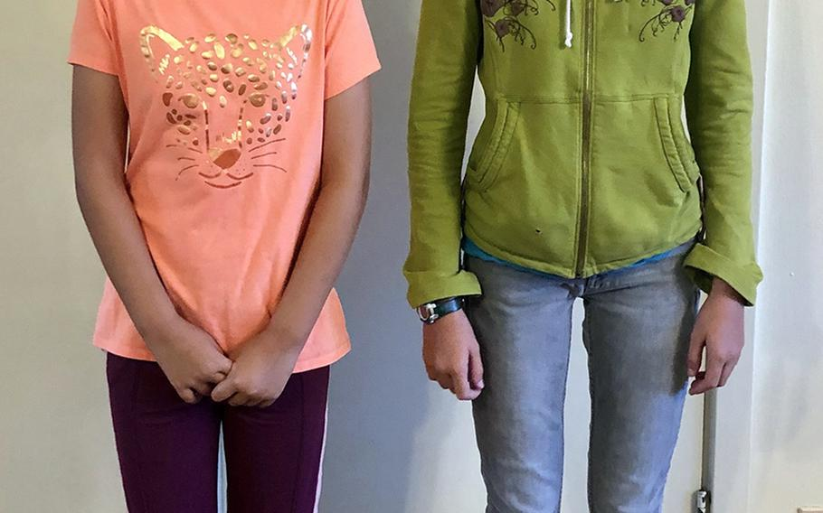 This photo taken Sept. 5, 2019, shows the daughters of Ryukyu Middle School parent Michelle Christensen, who said the child on the left was admonished by school officials for wearing pants without a zipper.