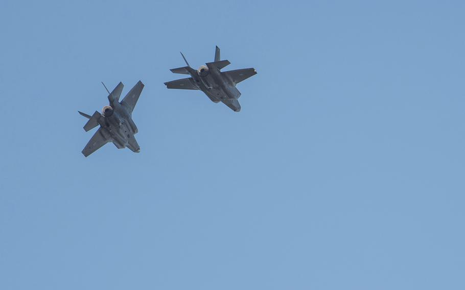 Two F-35A Lightning II stealth fighters assigned to the 61st Fighter Squadron at Luke Air Force Base, Ariz., break off from formation while training at Eielson Air Force Base, Alaska, Sept. 6, 2019.