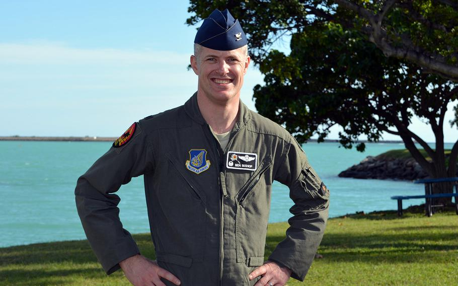 Col. Benjamin Bishop, commander of the Alaska-based 354th Fighter Wing, poses at Joint Base Pearl Harbor-Hickam, Hawaii, Thursday, Jan. 30, 2020.