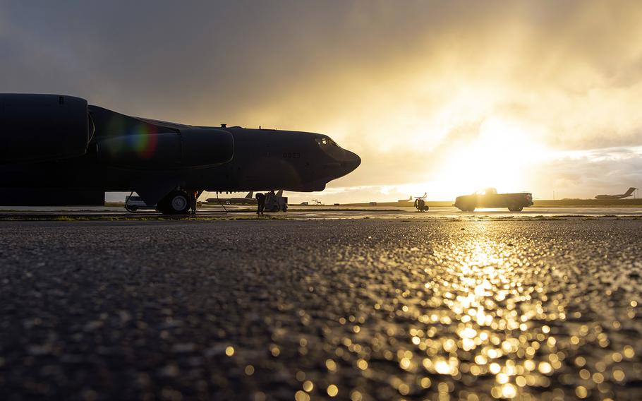 A B-52H Stratofortress from the 69th Expeditionary Bomb Squadron prepares to depart Andersen Air Force Base, Guam, Tuesday, Feb. 4, 2020.