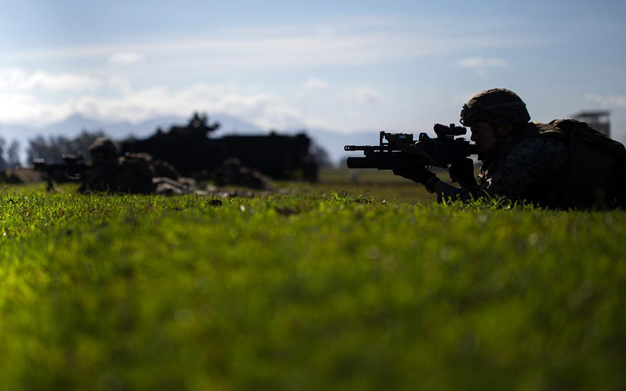 U.S. Marines with Kilo Company, 3rd Battalion, 6th Marine Regiment provide security during an amphibious landing drill in Zambales, Philippines, April 11, 2019, in support of the Balikatan exercise.