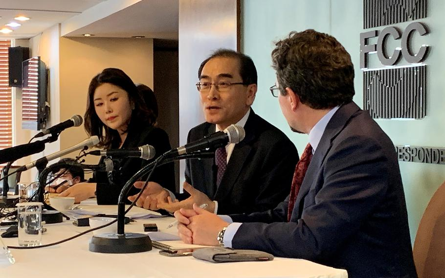 North Korean defector Thae Yong Ho speaks to foreign correspondents in Seoul, South Korea, Wednesday, Feb. 19, 2020.