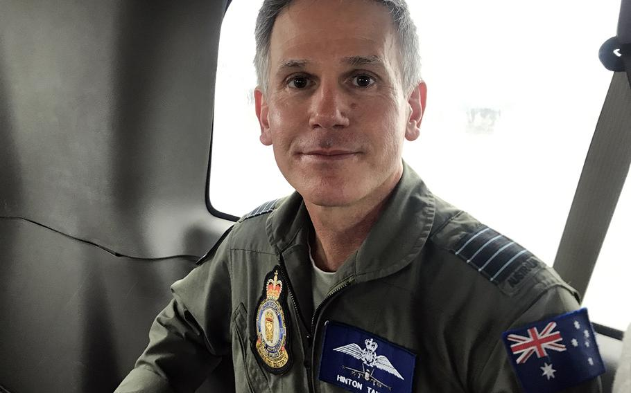 Hinton Tayloe of the Royal Australian Air Force speaks to Stars and Stripes during a Cope North drill at Andersen Air Force Base, Guam, Wednesday, Feb. 19, 2020. The group captain once flew F-18 Hornets for the U.S. Navy.
