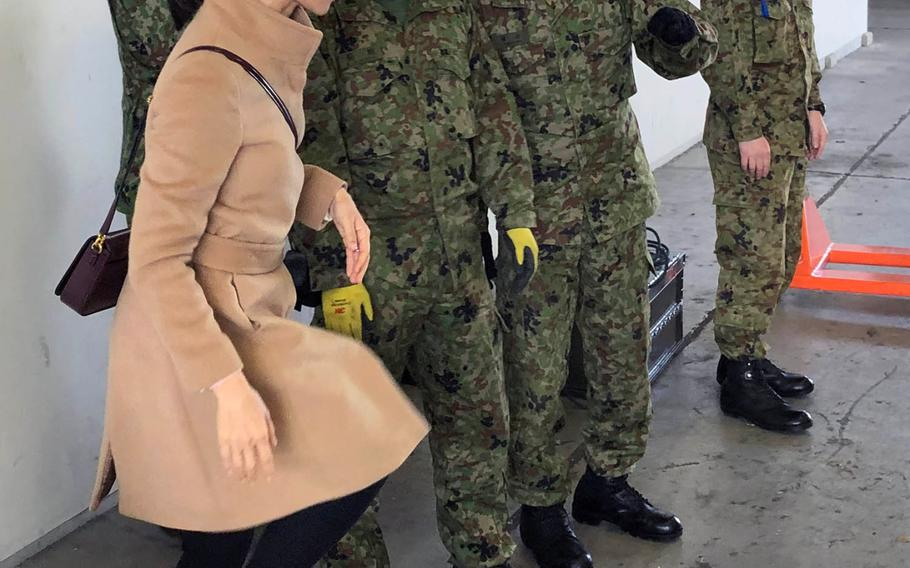 Yuko Carlan, left, a military spouse, volunteered to translate for Japanese and American service members taking part in Tomodachi Rescue Exercise at Yokota Air Base, Japan, Friday, Feb. 21, 2020.