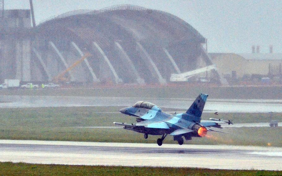 An F-16 Fighting Falcon from the Alaska-based 18th Aggressor Squadron takes off at Andersen Air Force Base, Guam, Feb. 19, 2020.
