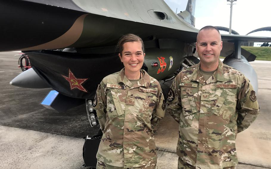 18th Aggressor Squadron maintainers Master Sgt. Stephanie Spiegel and Tech Sgt. John Green kept F-16 Fighting Falcons ready for action during Cope North drills at Andersen Air Force Base, Guam, Feb. 19, 2020.