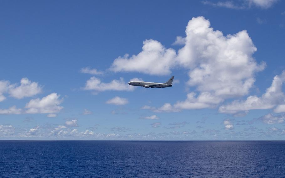 A Navy P-8A Poseidon flies near Guam during the Pacific Griffin exercise, Oct. 2, 2019.