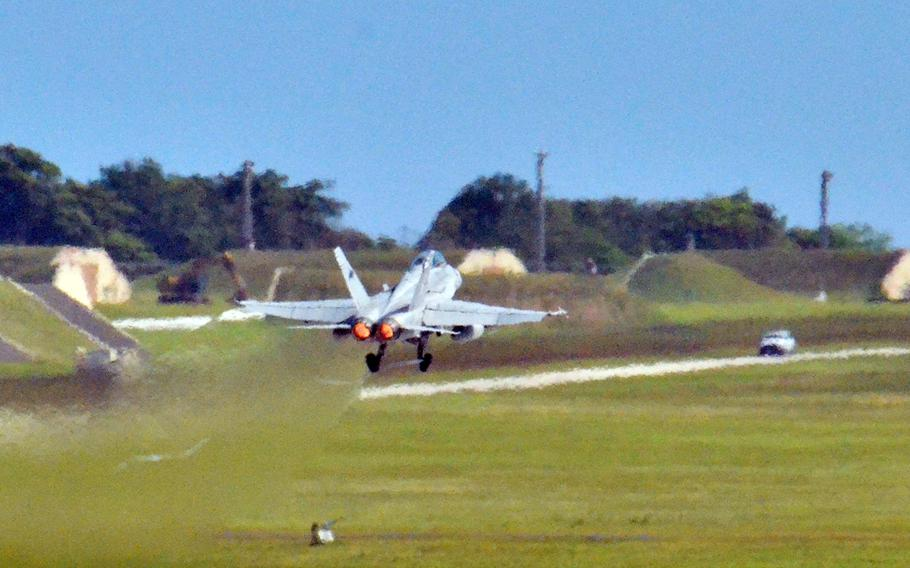 A Royal Australian Air Force F-18 participates in a Cope North drill at Andersen Air Force Base, Guam Feb. 19, 2020.