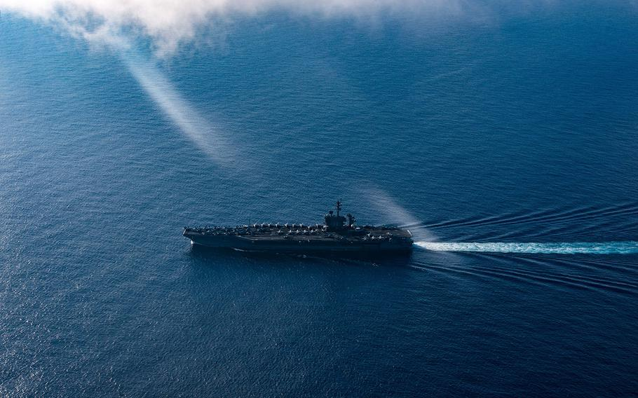 The aircraft carrier USS Theodore Roosevelt transits the Pacific Ocean on March 1, 2020.