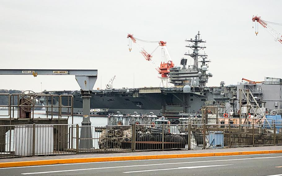 The aircraft carrier USS Ronald Reagan is seen at Yokosuka Naval Base, Japan, Monday, March 30, 2020.