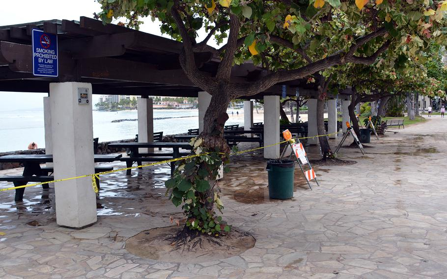 City-owned properties, such as this seaside pergola on Waikiki Beach, are off limits to the public during the current shelter-in-place order in Hawaii.
