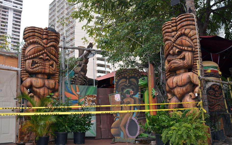 Tiki's torment: Cuckoo Coconuts restaurant on Royal Hawaiian Avenue on Waikiki Beach stands shuttered, March 31, 2020.