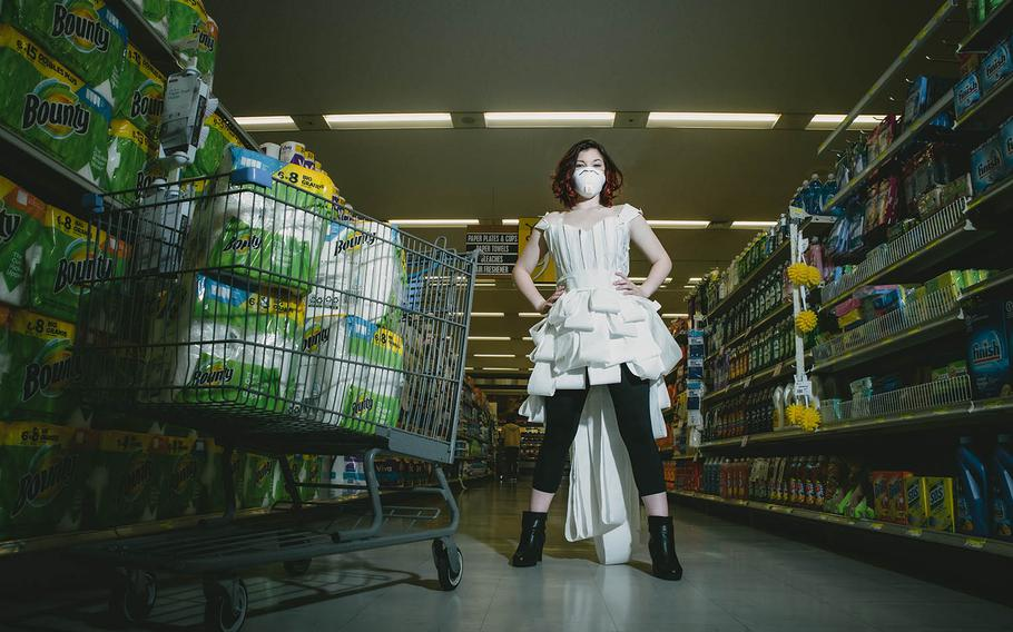 Sage Payer, a dependent at Yokota Air Base in western Tokyo, poses for a photo series about what people are wearing during the coronavirus pandemic.