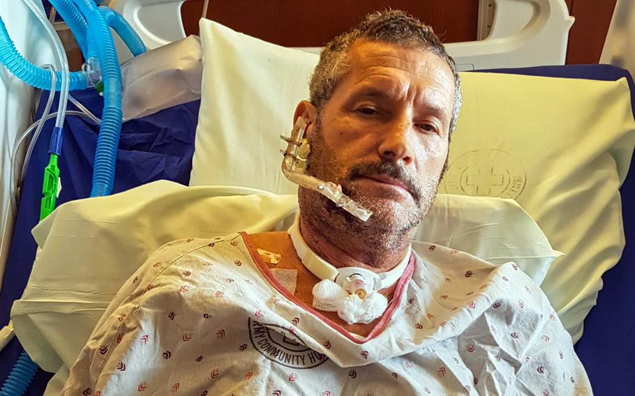 Retired Air Force Tech Sgt. Arnold Samberg in the U.S. military hospital at Camp Humphreys, South Korea, days after he was shot in the jaw during an incident involving South Korean police near Osan Air Base, South Korea, March 26, 2020.