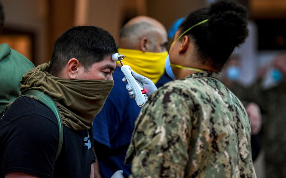 Sailors assigned to the aircraft carrier USS Theodore Roosevelt, which is docked at Naval Base Guam, are tested for coronavirus, April 7, 2020.