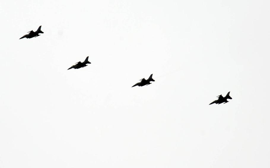 Air Force F-16 Fighting Falcons, assigned to Misawa Air Base, Japan, fly in formation after executing Exercise Pacific Weasel over Draughon Range, Japan, March 27, 2020.