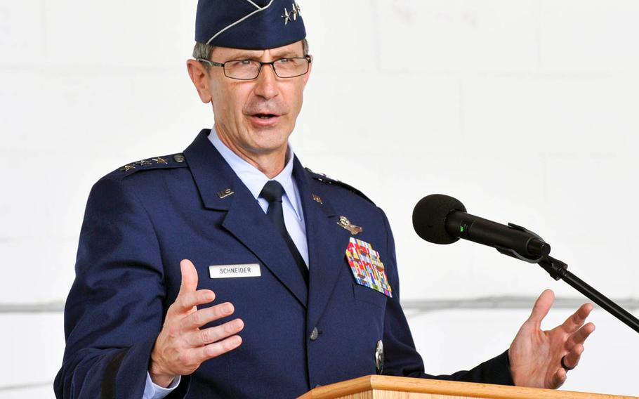 U.S. Air Force Lt. Gen. Kevin Schneider, commander of U.S. Forces Japan, shown here July 8, 2019, at Kadena Air Base, Okinawa, on April 15, 2020, expanded a public health emergency to include all U.S. bases in Japan.