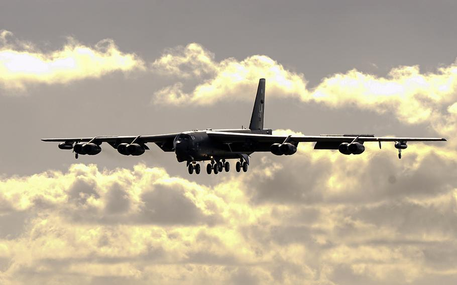 An Air Force B-52 Stratofortress bomber lands at Andersen Air Force Base, Guam, Jan. 16, 2018, in support of the continuous bomber presence mission.