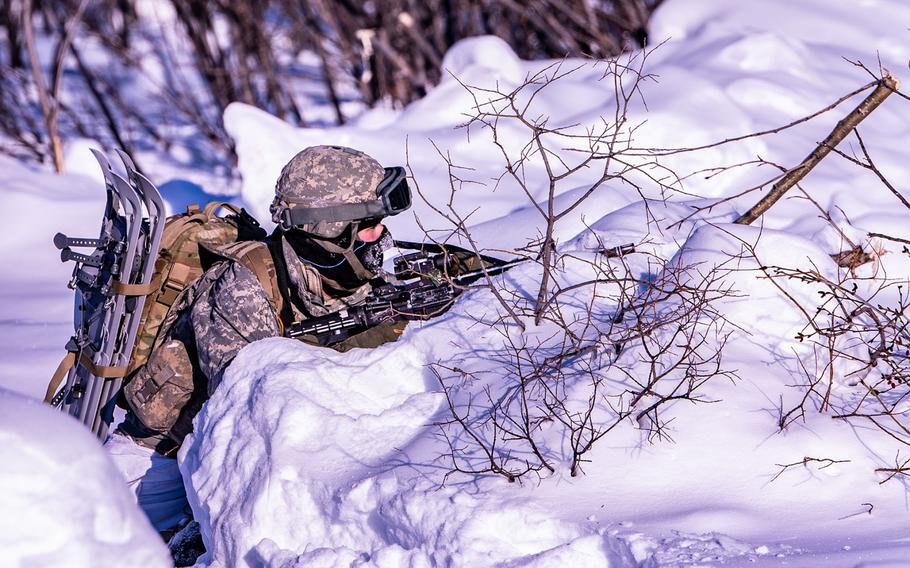 A soldier provides security on a long-range radar site near the Arctic Circle in Alaska, Feb. 28, 2020, in support of exercise Arctic Edge. Conner Downey/U.S. Army