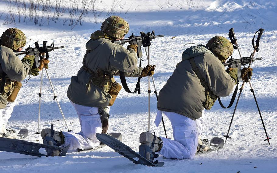 Cold Weather Leaders Course students use ski poles to steady their weapons as they fire at the Northern Warfare Training Center in Alaska, March 5, 2019.