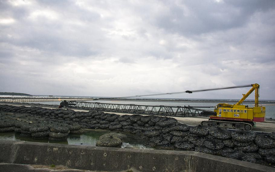 Construction work on a runway that will one day facilitate the relocation and closure of Marine Corps Air Station Futenma continues at Camp Schwab, Okinawa in March 2019.