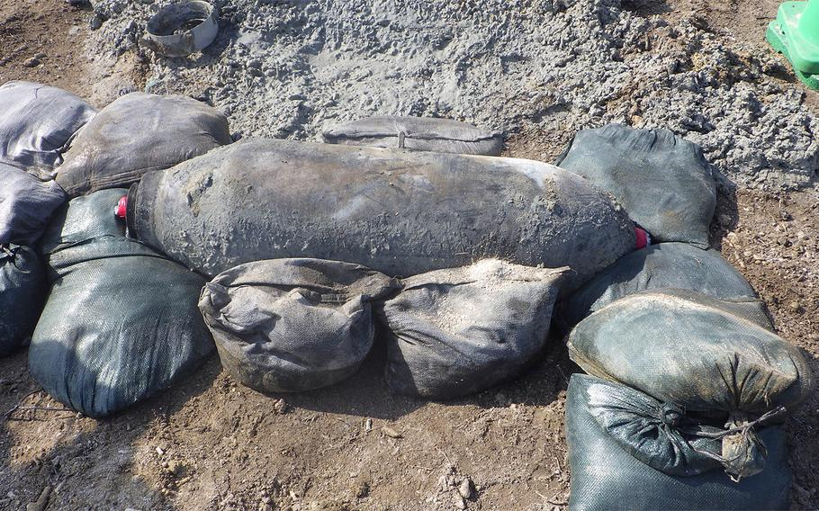 Unexploded ordnance from World War II was uncovered by construction workers at Naha Airport on Okinawa, Friday, April 17, 2020.
