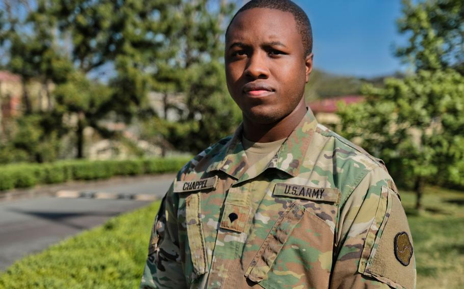 Spc. Deontae Chappel poses for a photo outside  Materiel Support Command-Korea headquarters at Camp Carroll, South Korea, Tuesday, April 21, 2020.