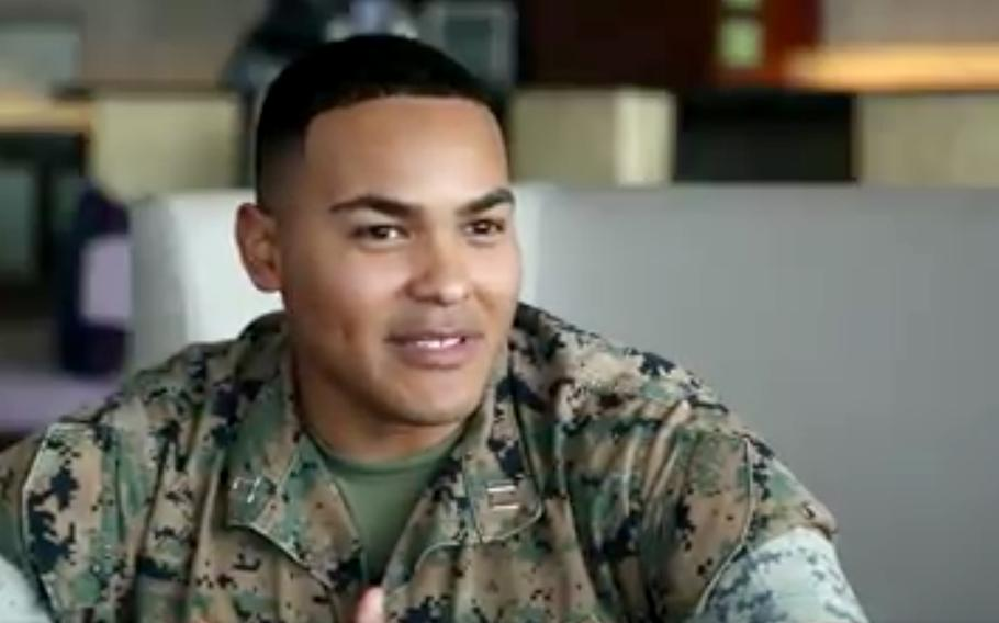 Marine Corps Capt. Vincente Huerta talks about the appreciation of USS Theodore Roosevelt sailors for what the Marines are doing for them on Guam, in a screen shot from a video.