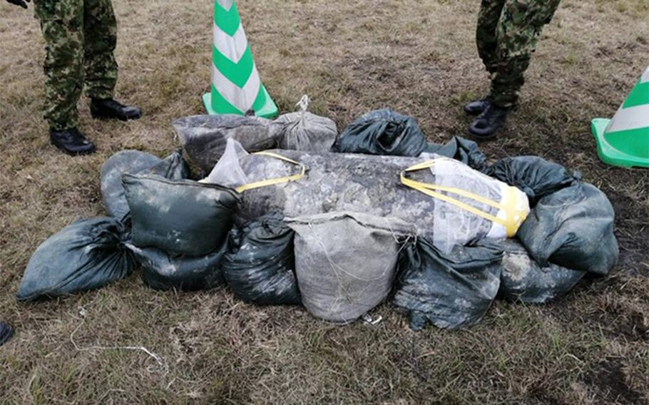 A second unexploded bomb from World War II was uncovered in a construction area at Naha Airport on Okinawa, Thursday, April 23, 2020. The first was found about 65 feet away on April 17.