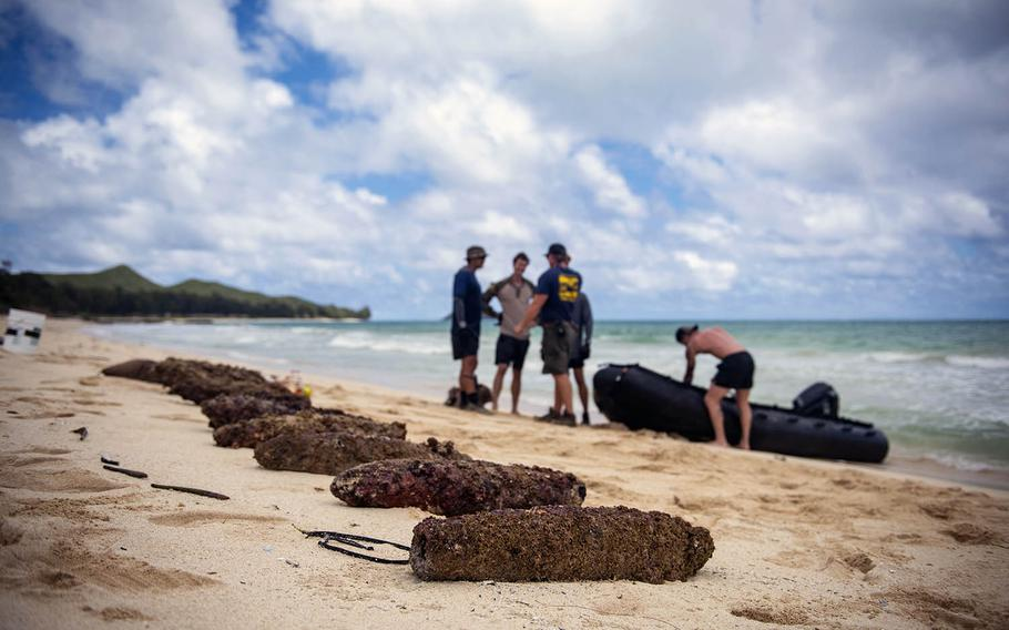 Unexploded ordnance lay on Lanikai Beach, Oahu, Hawaii, after being recovered April 27, 2020, by sailors assigned to Mobile Diving Salvage Unit 1 Detachment at Joint Base Pearl Harbor-Hickam.