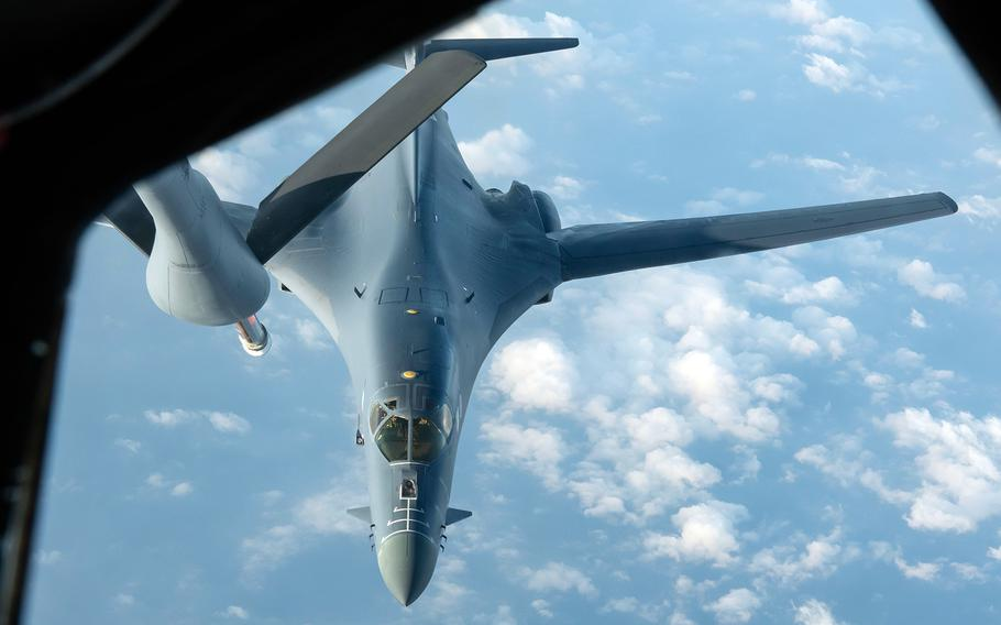 An Air Force B-1B Lancer from the 28th Bomb Wing at Ellsworth Air Force Base, S.D., prepares to refuel during a 34-hour round-trip sortie to the Indo-Pacific region, Thursday, April 30, 2020.
