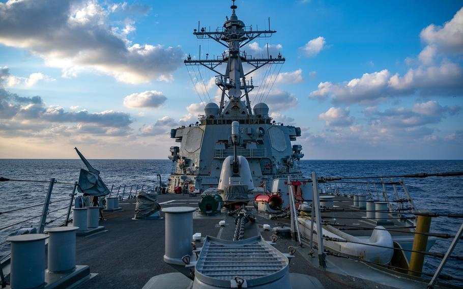 The guided-missile destroyer USS Barry sails near the Parcel Islands in the South China Sea, April 28, 2020.