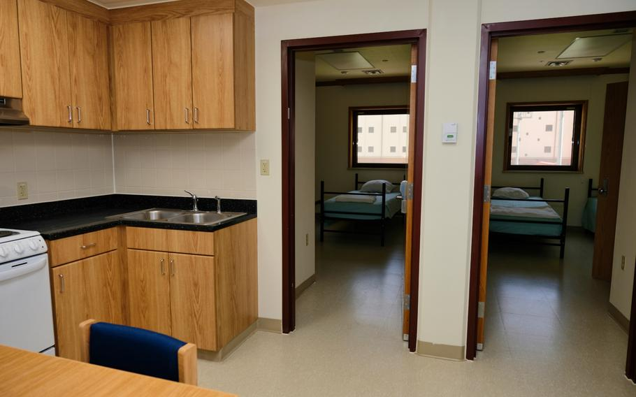Newcomers must spend two weeks in rooms similar to this model room inside the isolation facility at Camp Humphreys, South Korea.