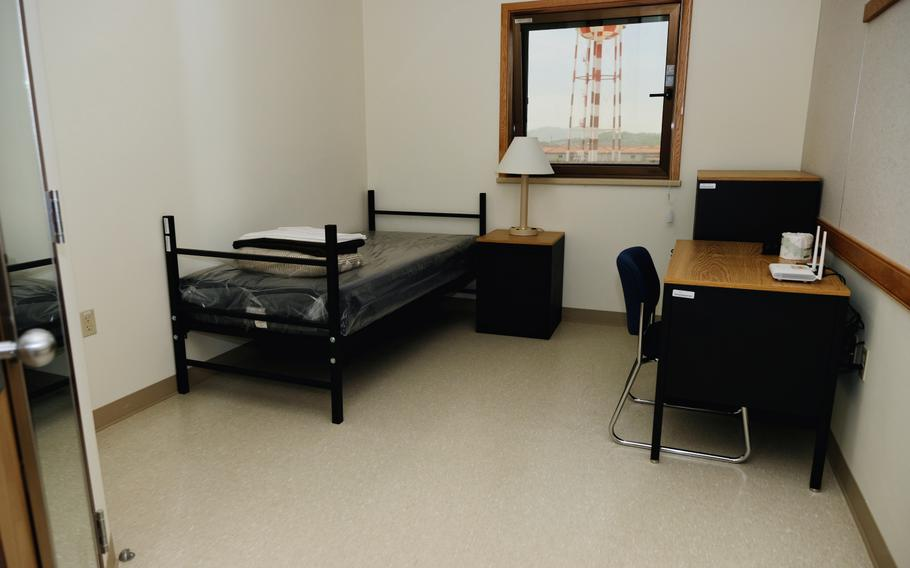 A room is furnished and ready for inbound service members inside the quarantine facility at Camp Humphreys, South Korea, Thursday, May 7, 2020.