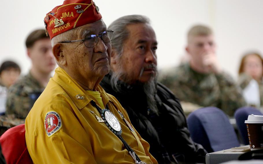 Navajo code talker Thomas Begay visits Marine Corps Air Station Cherry Point, N.C., Jan. 17, 2017.