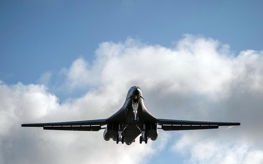A B-1B Lancer from Dyess Air Force Base, Texas, heads for the South China Sea on Tuesday, May 26, 2020.