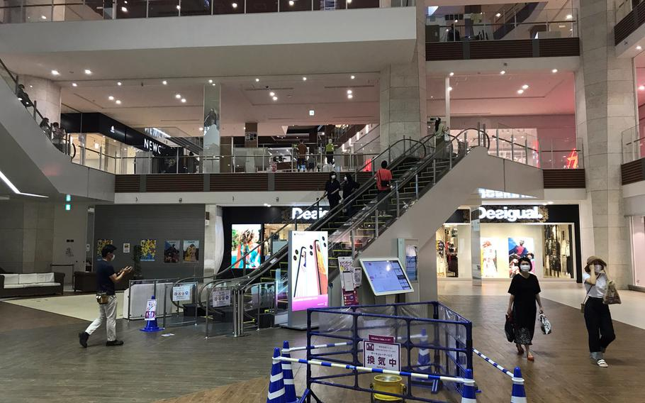 Aeon Mall Okinawa Rycom in Kitanakagusuku, seen Thursday, June 4, 2020, is among the off-base retail options some U.S. troops can patronize on Okinawa.