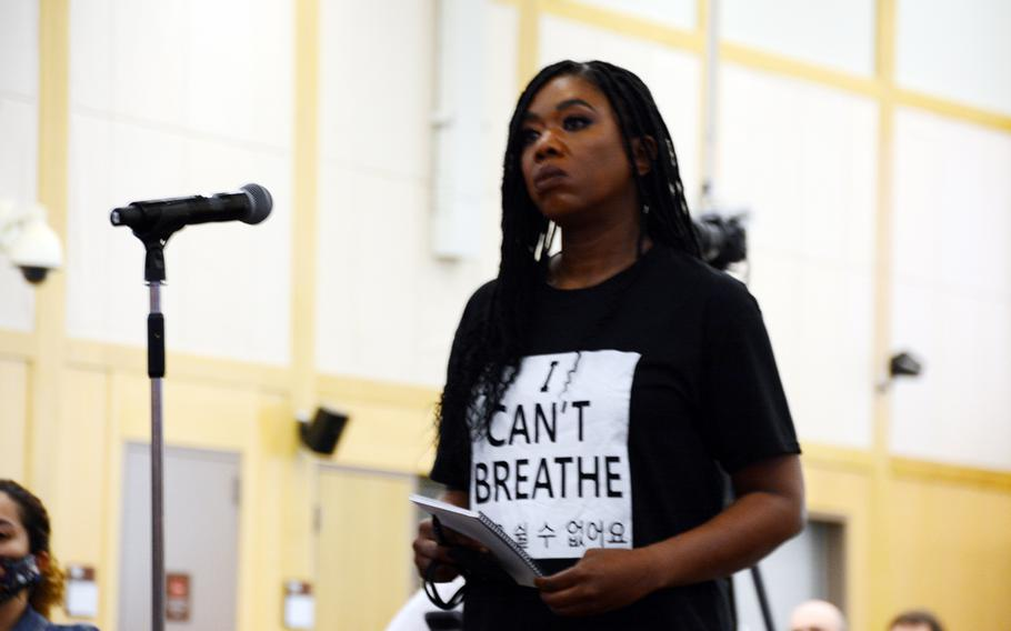 """Sgt. Dasha Long, who is assigned to the Eighth Army's Medical Simulation Training Center, speaks during a """"Stronger Together"""" forum hosted by U.S. Forces Korea at Camp Humphreys to address concerns about racism in the military, Sunday, June 7, 2020."""