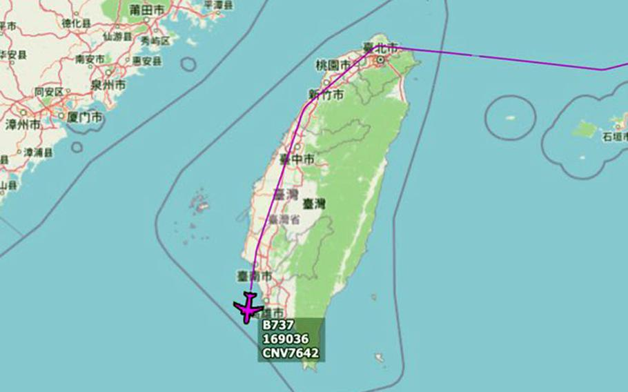 An image tweeted Tuesday by Golf9 purports to show the flight path of a U.S. C-40A Clipper aircraft around Taiwan on Tuesday, June 9, 2020.