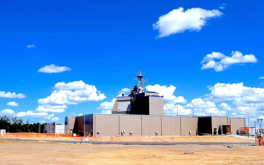 A new Aegis Ashore site at Naval Support Facility Redzikowo, Poland, is seen on Aug. 12, 2019. The facility is expected to be completed sometime in late 2020.