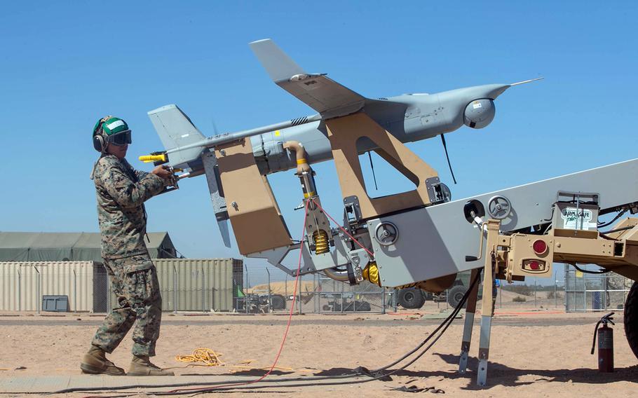 Marines prepare to launch an RQ-21 Blackjack drone in Yuma, Ariz., on Oct. 13, 2017.