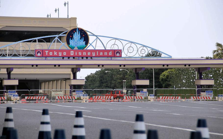 An entrance to Tokyo Disneyland is closed off on May 12, 2020.