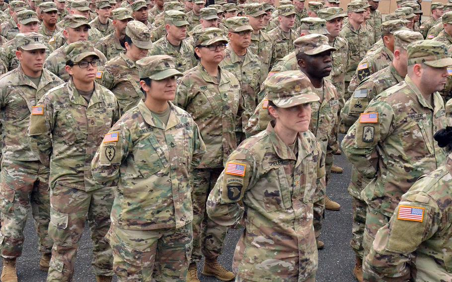 U.S. soldiers stand in formation during a ceremony to kick off the Yama Sakura exercise at Camp Asaka, Tokyo, Dec. 9, 2019.