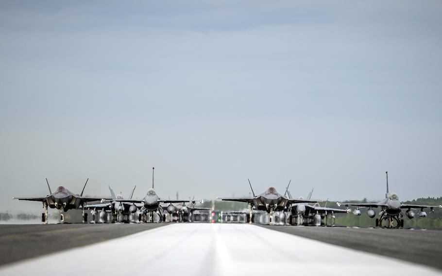 Twelve Air Force F-16CM Fighting Falcons, 12 Japanese F-35A Lightning II stealth fighters, two Navy EA-18G Growlers, a Navy C-12 Huron, two Air Force MC-130J Commando IIs and a Navy P-8 Poseidon participate in a show of force at Misawa Air Base, Japan, June 22, 2020. Twelve Air Force F-16CM Fighting Falcons, 12 Japanese F-35A Lightning II stealth fighters, two Navy EA-18G Growlers, a Navy C-12 Huron, two Air Force MC-130J Commando IIs and a Navy P-8 Poseidon participate in a show of force at Misawa Air Base, Japan, June 22, 2020.
