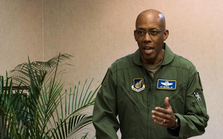 Gen. Charles Brown Jr., Pacific Air Forces commander, speaks during a virtual change-of-command ceremony at Joint Base Pearl Harbor-Hickam, Hawaii, June 11, 2020.