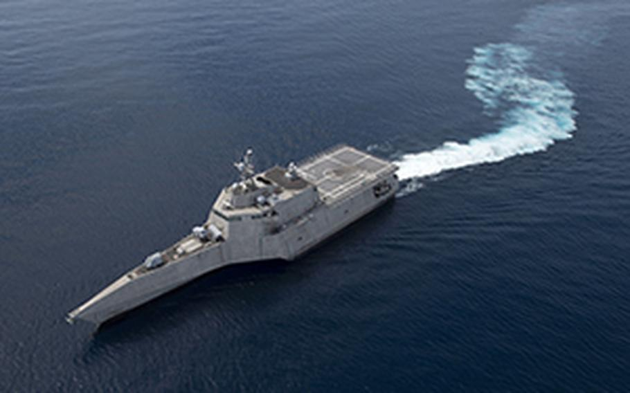 The littoral combat ship USS Gabrielle Giffords steams through the South China Sea, June 16, 2020.