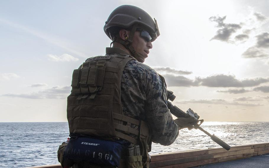 Lance Cpl. Aaron Palao-Moreno of the 31st Marine Expeditionary Unit trains aboard the amphibious assault ship USS America in the Philippine Sea, April 3, 2020.