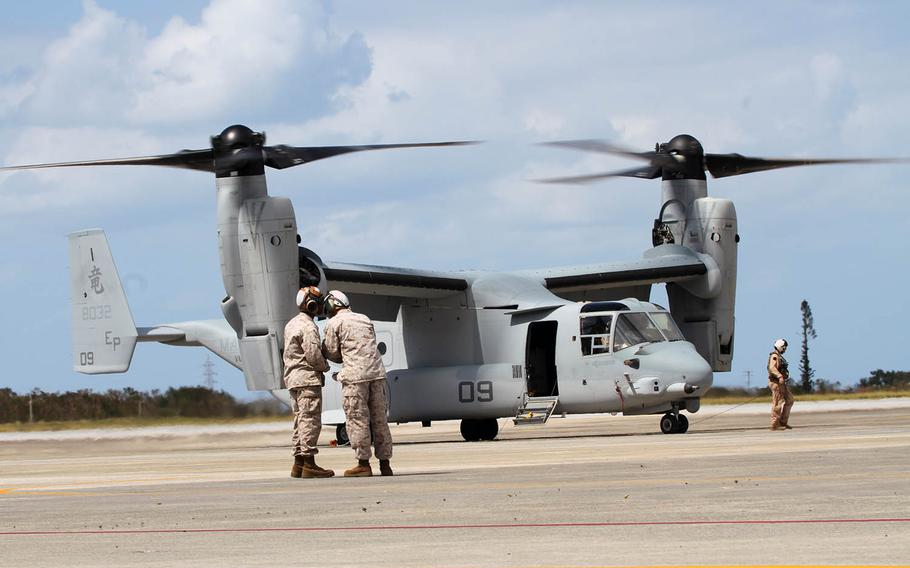 An MV-22B Osprey assigned arrives at Marine Corps Air Station Futenma, Okinawa, Oct 1, 2012.