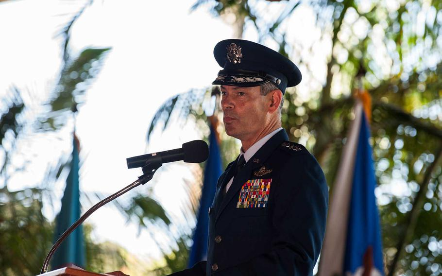 Gen. Kenneth Wilsbach speaks after taking command of Pacific Air Forces at Joint Base Pearl Harbor-Hickam, Hawaii, July 8, 2020.