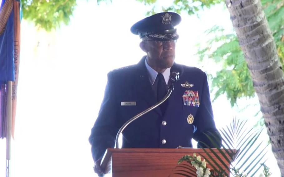 Gen. Charles Brown Jr., who will become the 22nd Air Force chief of staff next month, gives his final speech as Pacific Air Forces commander at Joint Base Pearl Harbor-Hickam, Hawaii, June 8, 2020.